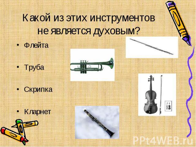 Какой из этих инструментов не является духовым? Флейта Труба Скрипка Кларнет