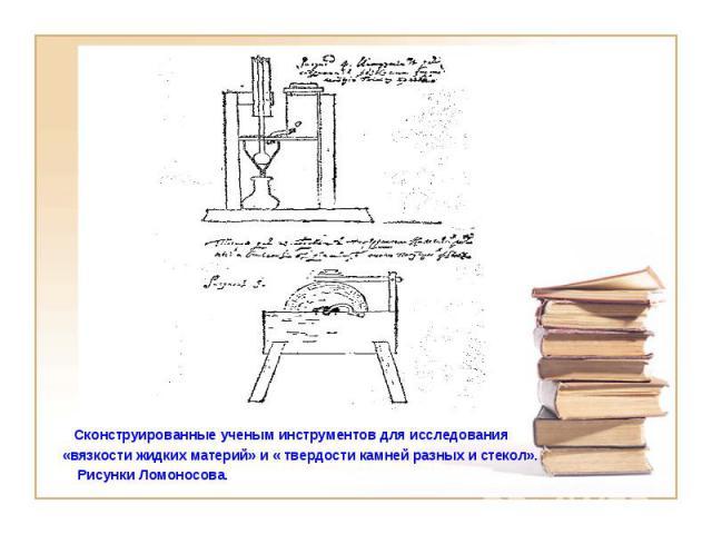 Сконструированные ученым инструментов для исследования «вязкости жидких материй» и « твердости камней разных и стекол». Рисунки Ломоносова.