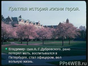 Краткая история жизни героя. Владимир- сын А. Г.Дубровского, рано потерял мать,