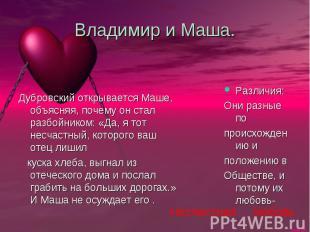 Владимир и Маша. Дубровский открывается Маше, объясняя, почему он стал разбойник