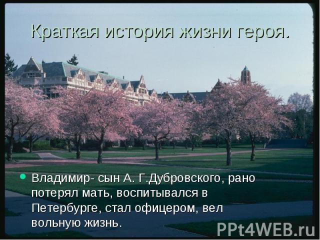 Краткая история жизни героя. Владимир- сын А. Г.Дубровского, рано потерял мать, воспитывался в Петербурге, стал офицером, вел вольную жизнь.