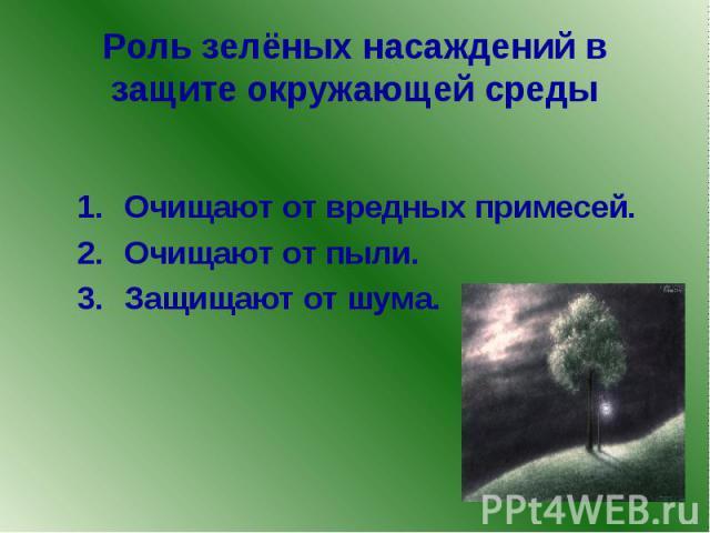 Роль зелёных насаждений в защите окружающей среды Очищают от вредных примесей. Очищают от пыли. Защищают от шума.