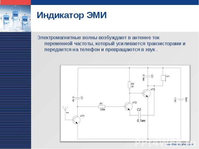 Индикатор ЭМИ Электромагнитные волны возбуждают в антенне ток переменной частоты, который усиливается транзисторами и передается на телефон и превращаются в звук .