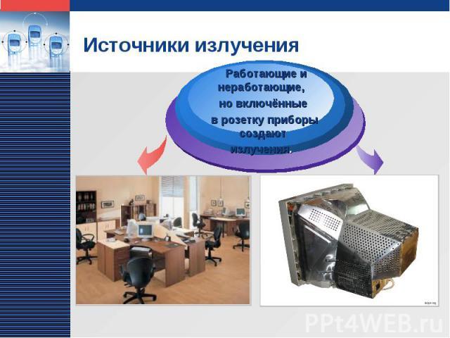 Источники излучения Работающие и неработающие, но включённые в розетку приборы создают излучения.