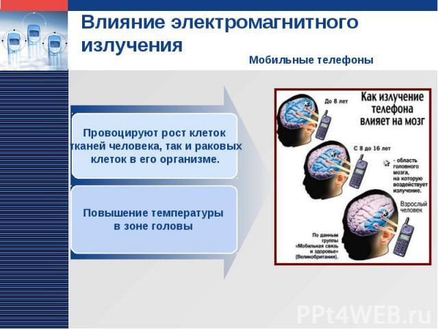 Влияние электромагнитного излучения Мобильные телефоны Провоцируют рост клеток тканей человека, так и раковых клеток в его организме. Повышение температуры в зоне головы