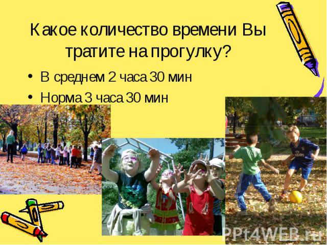 Какое количество времени Вы тратите на прогулку? В среднем 2 часа 30 мин Норма 3 часа 30 мин
