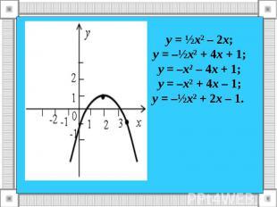 у = ½х² – 2х; у = –½х² + 4х + 1; у = –х² – 4х + 1; у = –х² + 4х – 1; у = –½х² +