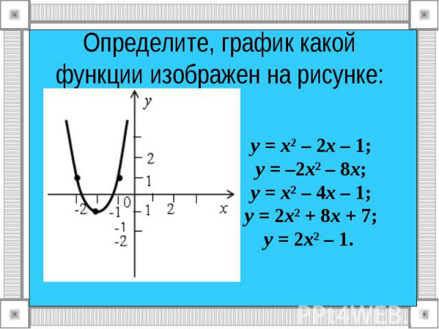 Определите, график какой функции изображен на рисунке: у = х² – 2х – 1; у = –2х² – 8х; у = х² – 4х – 1; у = 2х² + 8х + 7; у = 2х² – 1.