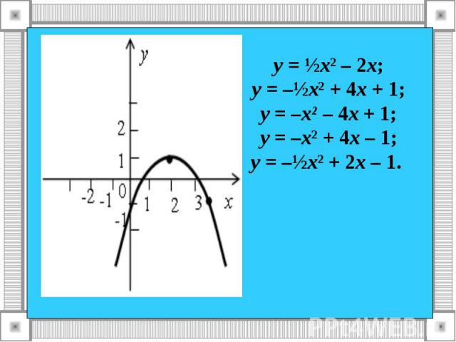 у = ½х² – 2х; у = –½х² + 4х + 1; у = –х² – 4х + 1; у = –х² + 4х – 1; у = –½х² + 2х – 1.