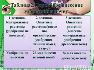 Таблица2.Первичное внесение удобрений в почву.