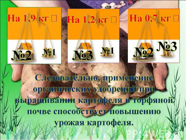 Следовательно, применение органических удобрений при выращивании картофеля в торфяной почве способствует повышению урожая картофеля.