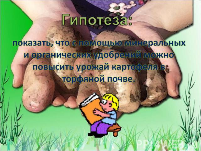 Гипотеза: показать, что с помощью минеральных и органических удобрений можно повысить урожай картофеля в торфяной почве.