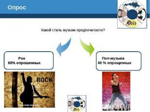 Опрос Какой стиль музыки предпочитаете? Рок 60% опрошенных Поп-музыка 40 % опрощ