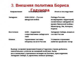 3. Внешняя политика Бориса Годунова Вывод: за время правления Бориса Годунова ст