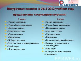 Внеурочные занятия в 2011-2012 учебном году представлены следующими курсами: 1 к