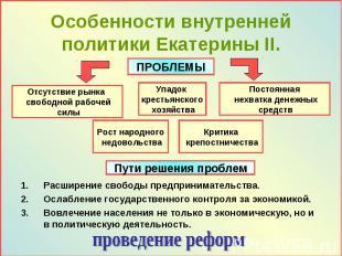 Особенности внутренней политики Екатерины II. Расширение свободы предприниматель