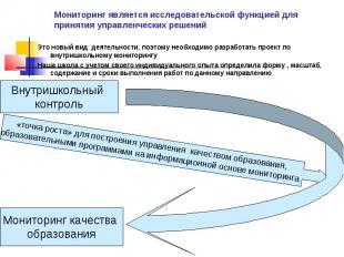 Мониторинг является исследовательской функцией для принятия управленческих решен