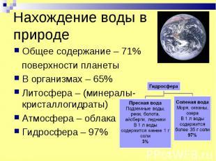 Нахождение воды в природе Общее содержание – 71% поверхности планеты В организма