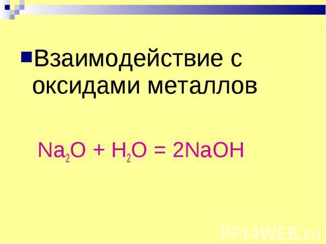 Взаимодействие с оксидами металлов Na2O + H2O = 2NaOH