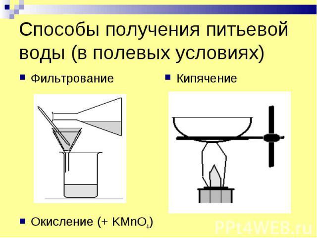 Способы получения питьевой воды (в полевых условиях) Фильтрование Кипячение Окисление (+ KMnO4)