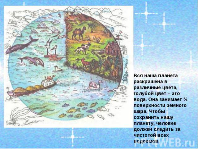 Вся наша планета раскрашена в различные цвета, голубой цвет – это вода. Она занимает ¾ поверхности земного шара. Чтобы сохранить нашу планету, человек должен следить за чистотой всех водоемов.