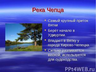 Река Чепца Самый крупный приток Вятки Берёт начало в Удмуртии. Впадает в Вятку у
