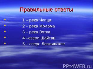 Правильные ответы 1 – река Чепца 2 – река Молома 3 – река Вятка 4 –озеро Шайтан