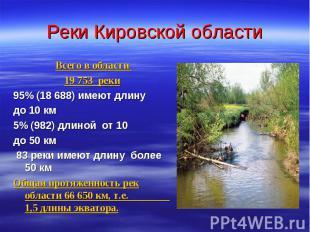 Реки Кировской области Всего в области 19 753 реки 95% (18 688) имеют длину до 1