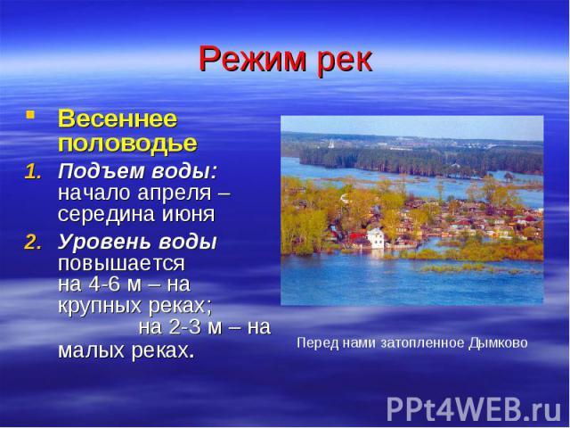 Режим рек Весеннее половодье Подъем воды: начало апреля – середина июня Уровень воды повышается на 4-6 м – на крупных реках; на 2-3 м – на малых реках. Перед нами затопленное Дымково