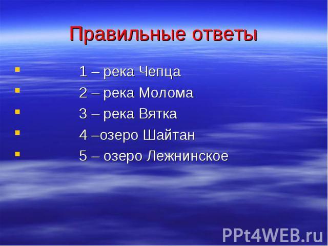 Правильные ответы 1 – река Чепца 2 – река Молома 3 – река Вятка 4 –озеро Шайтан 5 – озеро Лежнинское