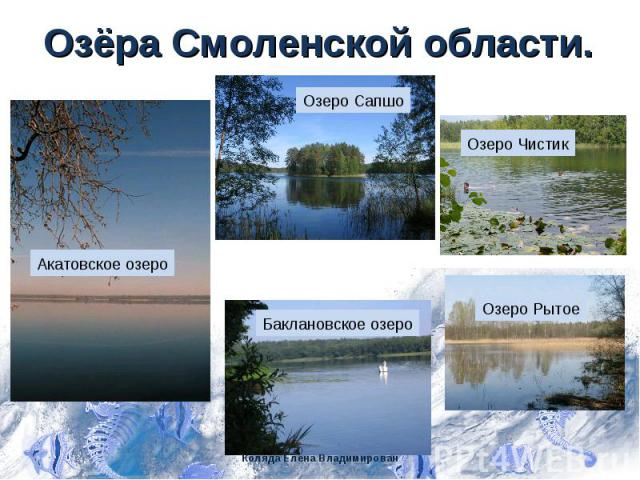 Озёра Смоленской области. Озеро Сапшо Акатовское озеро Озеро Чистик Озеро Рытое Баклановское озеро