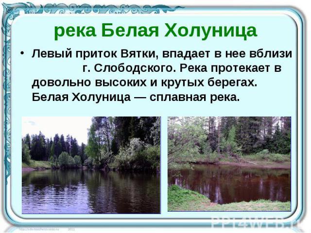 река Белая Холуница Левый приток Вятки, впадает в нее вблизи г. Слободского. Река протекает в довольно высоких и крутых берегах. Белая Холуница — сплавная река.
