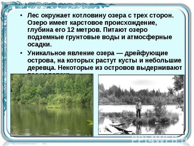 Лес окружает котловину озера с трех сторон. Озеро имеет карстовое происхождение, глубина его 12 метров. Питают озеро подземные грунтовые воды и атмосферные осадки. Уникальное явление озера— дрейфующие острова, на которых растут кусты и небольшие де…
