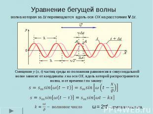 Уравнение бегущей волны волна которая за Δt перемещается вдоль оси OX на расстоя