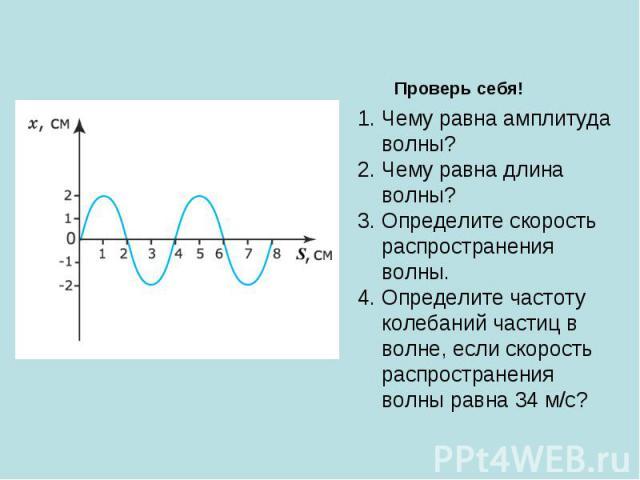 Проверь себя! Чему равна амплитуда волны? Чему равна длина волны? Определите скорость распространения волны. Определите частоту колебаний частиц в волне, если скорость распространения волны равна 34 м/с?