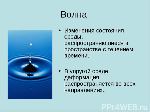 Волна Изменения состояния среды, распространяющиеся в пространстве с течением времени. В упругой среде деформация распространяется во всех направлениях.