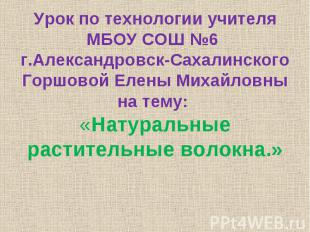 Урок по технологии учителя МБОУ СОШ №6 г.Александровск-Сахалинского Горшовой Еле