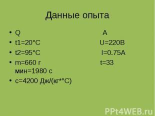 Данные опыта Q A t1=20°C U=220B t2=95°C I=0.75A m=660 г t=33 мин=1980 с c=4200 Д