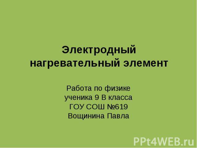 Электродный нагревательный элемент Работа по физике ученика 9 В класса ГОУ СОШ №619 Вощинина Павла