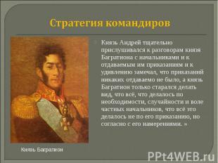 Стратегия командиров Князь Андрей тщательно прислушивался к разговорам князя Баг