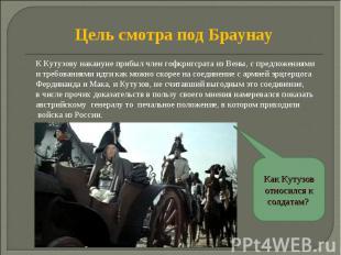 Цель смотра под Браунау К Кутузову накануне прибыл член гофкригсрата из Вены, с