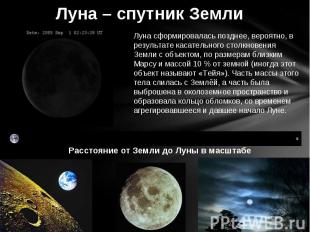 Луна – спутник Земли Луна сформировалась позднее, вероятно, в результате касател