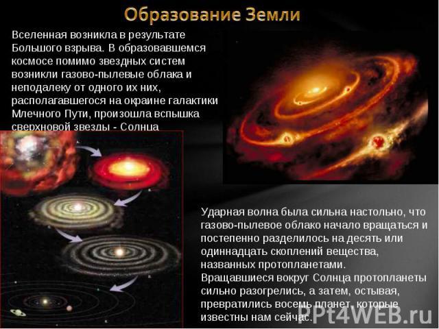 Образование Земли Вселенная возникла в результате Большого взрыва. В образовавшемся космосе помимо звездных систем возникли газово-пылевые облака и неподалеку от одного их них, располагавшегося на окраине галактики Млечного Пути, произошла вспышка с…