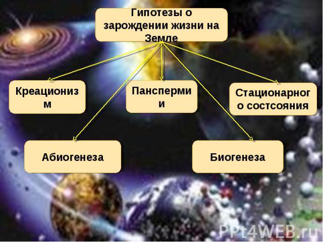 Гипотезы о зарождении жизни на Земле Креационизм Панспермии Стационарного состсояния Биогенеза Абиогенеза