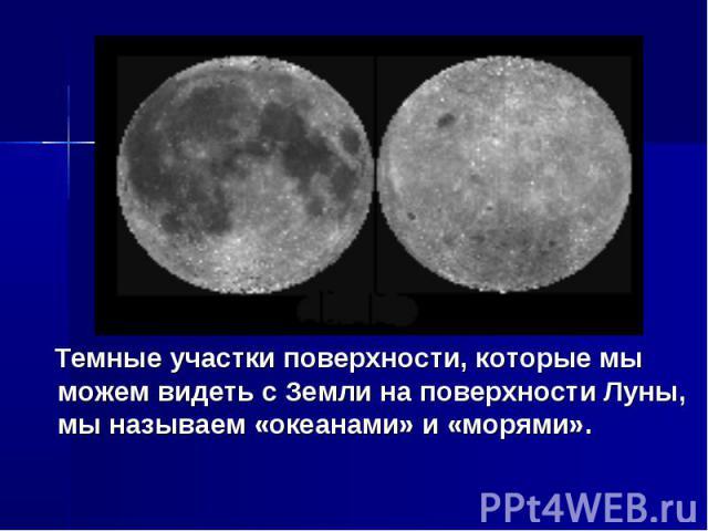 Темные участки поверхности, которые мы можем видеть с Земли на поверхности Луны, мы называем «океанами» и «морями».
