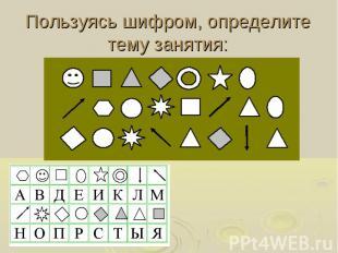 Пользуясь шифром, определите тему занятия:
