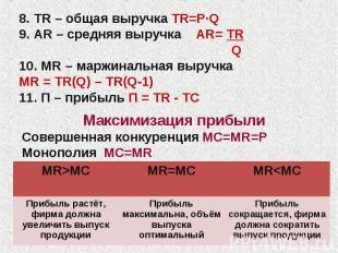 8. TR – общая выручка TR=P·Q 9. AR – средняя выручка AR= TR Q 10. MR – маржиналь