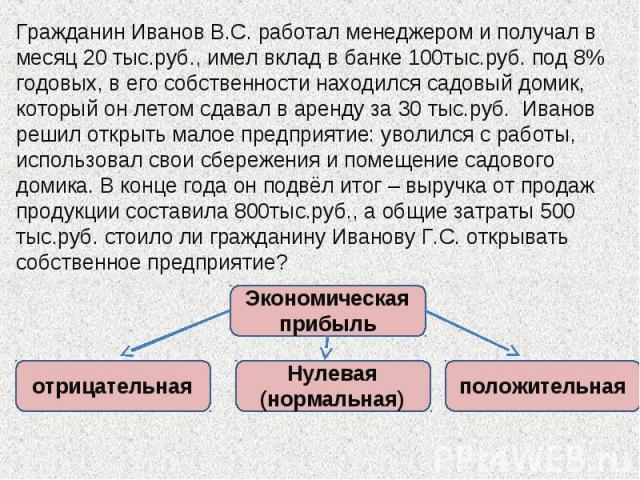 Гражданин Иванов В.С. работал менеджером и получал в месяц 20 тыс.руб., имел вклад в банке 100тыс.руб. под 8% годовых, в его собственности находился садовый домик, который он летом сдавал в аренду за 30 тыс.руб. Иванов решил открыть малое предприяти…