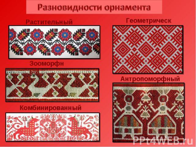 Разновидности орнамента Растительный Геометрический Зооморфный Антропоморфный Комбинированный