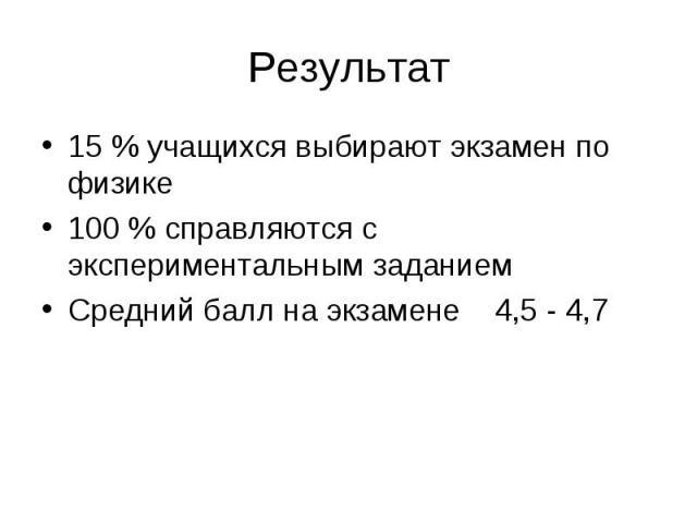 Результат 15 % учащихся выбирают экзамен по физике 100 % справляются с экспериментальным заданием Средний балл на экзамене 4,5 - 4,7